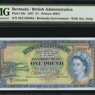 BERMUDA. Bermuda Government. 1 Pound, 1957. P-20c. PMG Gem Uncirculated 66 EPQ.