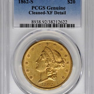 Lot of (4) 1862-S Liberty Double Eagles. (PCGS).
