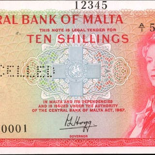 MALTA. Central Bank of Malta. 10 Shillings, 1967. P-28s. Specimen.