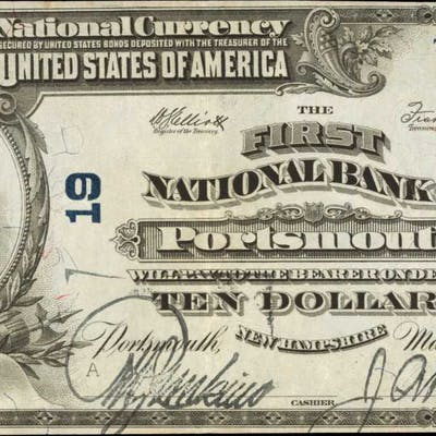 Portsmouth, New Hampshire. $10 1902 Plain Back. Fr. 634. The First
