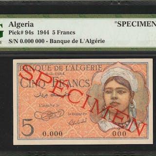 ALGERIA. Banque de l'Algerie. 5 Francs, 1944. P-94s. Specimen. PMG