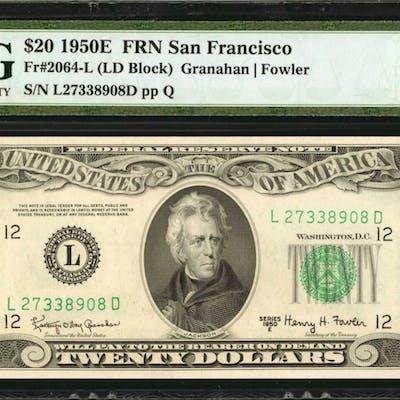 Fr. 2064-L. 1950E $20 Federal Reserve Note. San Francisco. PMG Superb