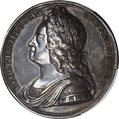 GREAT BRITAIN. George II Coronation Silver Medal, 1727. PCGS SPECIMEN-62