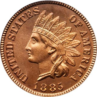 1885 Indian Cent. Snow-PR3. Repunched Date. Proof-67 RD (PCGS). OGH.