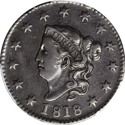 1818 Matron Head Cent. N-8. Rarity-3. VF-30 (PCGS).