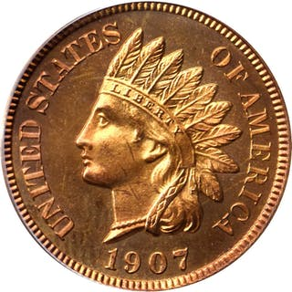 1907 Indian Cent. Snow-PR1. Proof-66 RD Cameo (PCGS).