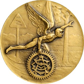 SWITZERLAND. Automobile Club 25th Anniversary Brass Medal, 1923. UNCIRCULATED.