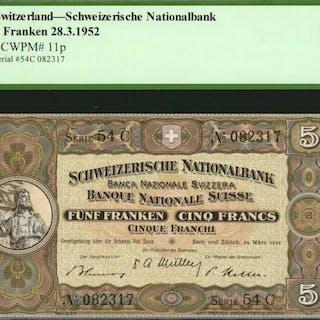 SWITZERLAND. Schweizeische Nationalbank. 5 Franken, 1952. P-11p. PCGS