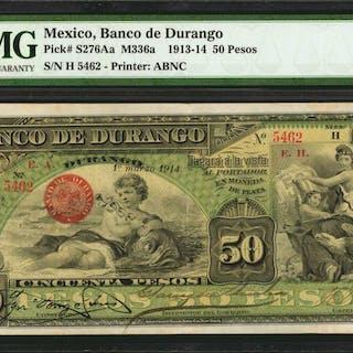 MEXICO. Banco de Durango. 50 Pesos, 1913-14. P-S276Aa. PMG Extremely Fine 40.
