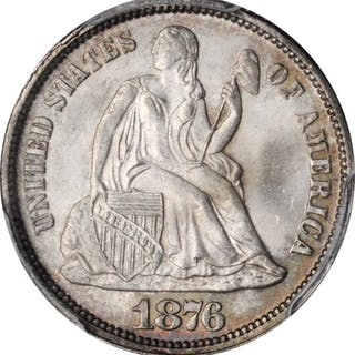 1876 Liberty Seated Dime. MS-66+ (PCGS). CAC.