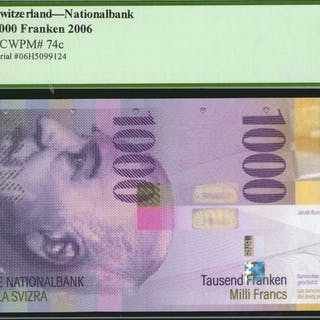 SWITZERLAND. National Bank. 1000 Franken, 2006. P-74c. PCGS Currency