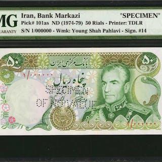IRAN. Bank Markazi. 50 Rials, ND (1974-79). P-101as. Specimen. PMG