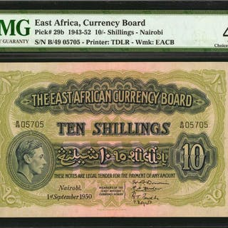 EAST AFRICA. East African Currency Board. 10 Shillings, 1950. P-29b.