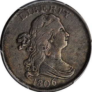 1806 Draped Bust Half Cent. Small 6, Stemless Wreath. EF Details--Cleaning