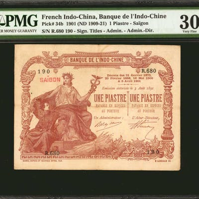 FRENCH INDO-CHINA. Banque de L'Indo-Chine. 1 Piastre, (ND 1909-21).