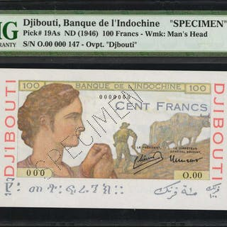 DJIBOUTI. Banque de l'Indo-Chine. 100 Francs, ND (1946). P-19As. Specimen.