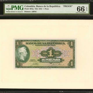 COLOMBIA. Banco de la Republica. 1 Peso Plata, January 1, 1941. P-387p.