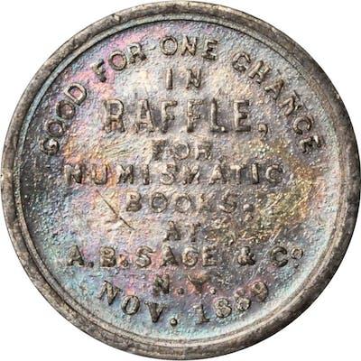 1860/1859 A.B. Sage & Co. Store Card. Miller-NY 765, var. White Metal.