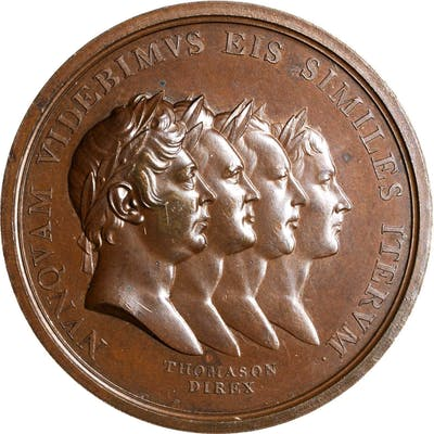 GREAT BRITAIN. Treaty of Paris Bronze Medal, 1814. George III, with