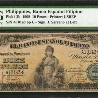 PHILIPPINES. Banco Espanol Filipino. 10 Pesos, 1908. P-2b. PMG Very Fine 20.