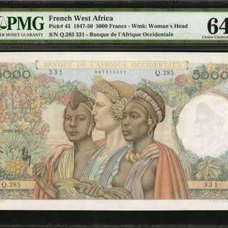 FRENCH WEST AFRICA. Banque de l'Afrique Occidentale. 5000 Francs