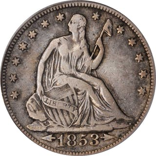 1853 Liberty Seated Half Dollar. Arrows and Rays. VF-25 (PCGS).