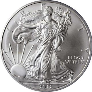 Lot of (3) 2012-Dated Silver Eagles. First Strike. (PCGS).