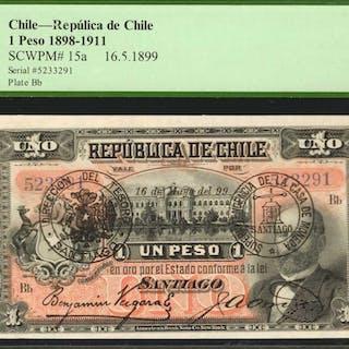 CHILE. Republica de Chile. 1 Peso, 1898-1911. P-15a. PCGS Currency