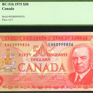 CANADA. Bank of Canada. 50 Dollars, 1975. BC-51b. PCGS Currency Gem New 66 PPQ.