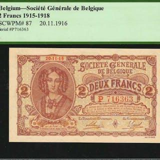 BELGIUM. Societe Generale de Belgique. 2 Francs, 1916. P-87. PCGS