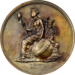 1871 Pattern Dollar. Judd-1132, Pollock-1268. Rarity-8. Copper. Reeded