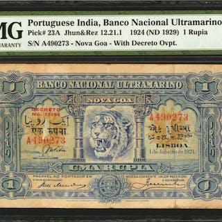 PORTUGUESE INDIA. Banco Nacional Ultramarino. 1 Rupia, 1924 (ND 1929).