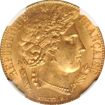 FRANCE. 20 Francs, 1851-A. Paris Mint. NGC MS-65.