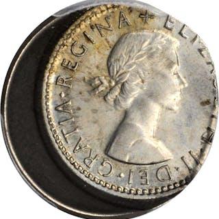 GREAT BRITAIN. Mint Error -- Off-Center Strike -- 6 Pence, 1964. PCGS