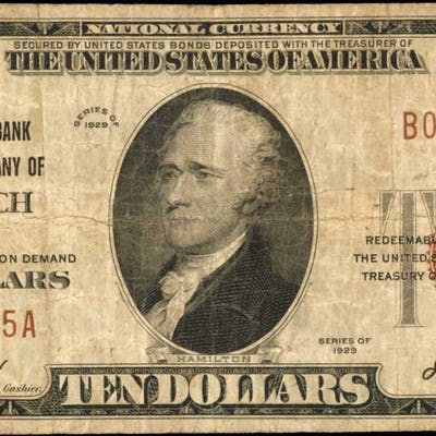 Norwich, New York. 1929 Ty. 1 $10 Fr. 1801-1. The NB. Charter #1354. Fine.