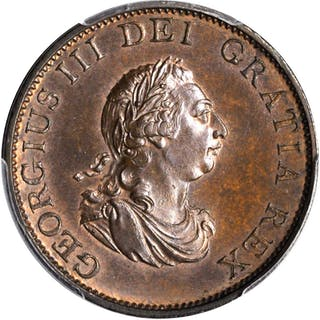 GREAT BRITAIN. 1/2 Penny, 1799. George III. PCGS MS-65 Brown Gold Shield.
