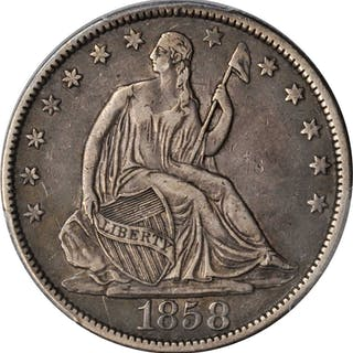 1858 Liberty Seated Half Dollar. Type I Reverse. EF-45 (PCGS).