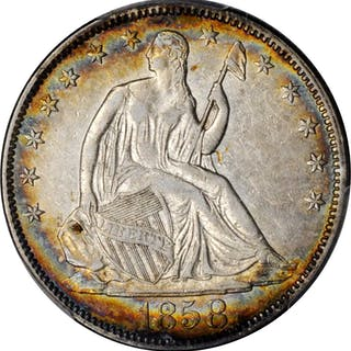 1858 Liberty Seated Half Dollar. Type I Reverse. EF-40 (PCGS).