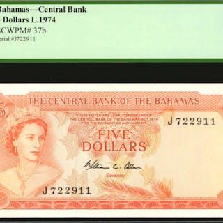 BAHAMAS. Central Bank Bahamas. 5 Dollars, 1974. P-37b. PCGS Currency