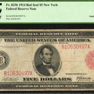 Fr. 833b. 1914 Red Seal $5  Federal Reserve Note. New York. PCGS Currency
