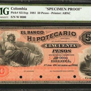 COLOMBIA. Banco Hipotecario. 50 Pesos. October 1, 1881. P-S514s. Specimen.