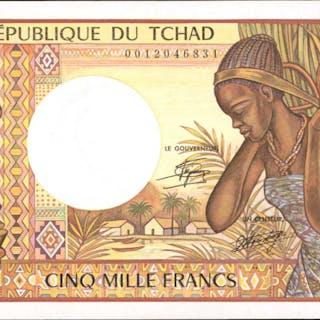 CHAD. Banque des Etats de l'Afrique Centrale. 5000 Francs, ND (1984-91).