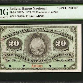 BOLIVIA. Banco Nacional de Bolivia. 20 Centavos, 1875. P-S197s. Specimen.