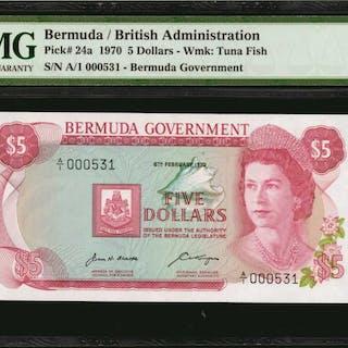 BERMUDA. Bermuda Government. 5 Dollars, 1970. P-24a. PMG Superb Gem