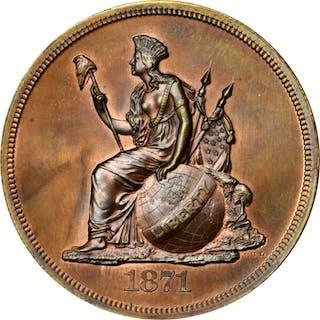 1871 Pattern Dollar. Judd-1129, Pollock-1265. Rarity-7+. Copper. Plain