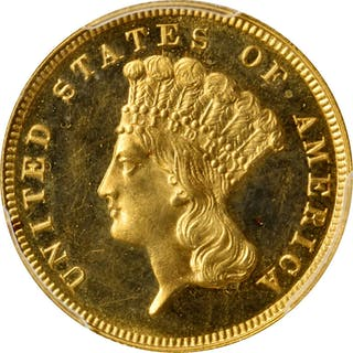 1889 Three-Dollar Gold Piece. JD-1, the only known dies. Rarity-4.