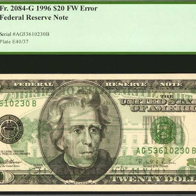 Fr. 2084-G. 1996 $20 Federal Reserve Note. Chicago. PCGS Currency
