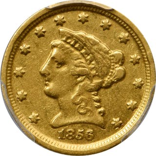 1856-D Liberty Head Quarter Eagle. Winter 19-M, the only known dies.