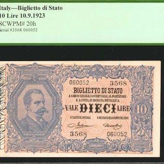 ITALY. Biglietto di Stato. 10 Lire, 1888-1925. P-20h. Inverted Back