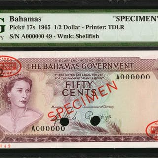 BAHAMAS. Bahamas Government. 1/2 Dollar to 100 Dollars, 1965. P-17s